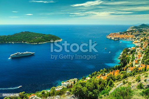 istock Amazing panoramic view of the walled city Dubrovnik, Dalmatia, Croatia 686696236