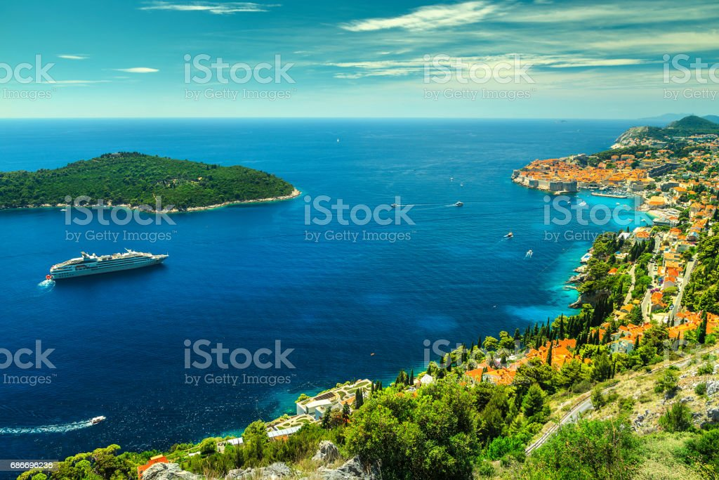 Amazing panoramic view of the walled city Dubrovnik, Dalmatia, Croatia stock photo