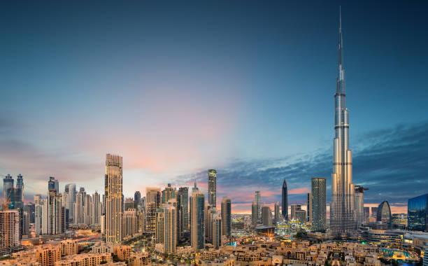 erstaunlicher panoramablick auf dubai futuristische skyline, dubai, vereinigte arabische emirate - dubai stock-fotos und bilder