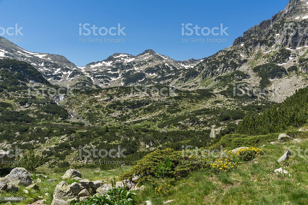 Amazing panoramic view to Demirkapiyski chuki peak, Pirin Mountain royalty-free stock photo