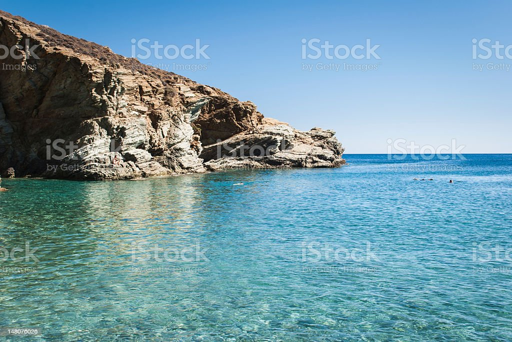 Amazing pebble beach in Folegandros, Cyclades Islands, Greece stock photo