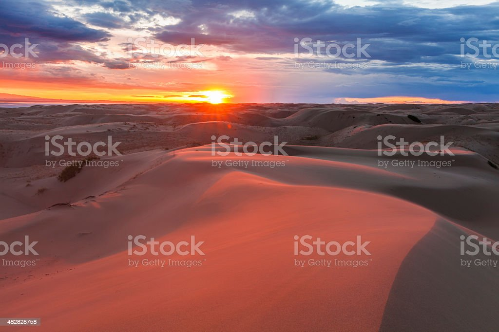 Amazing pink sunset in the Gobi Desert. Mongolia. stock photo