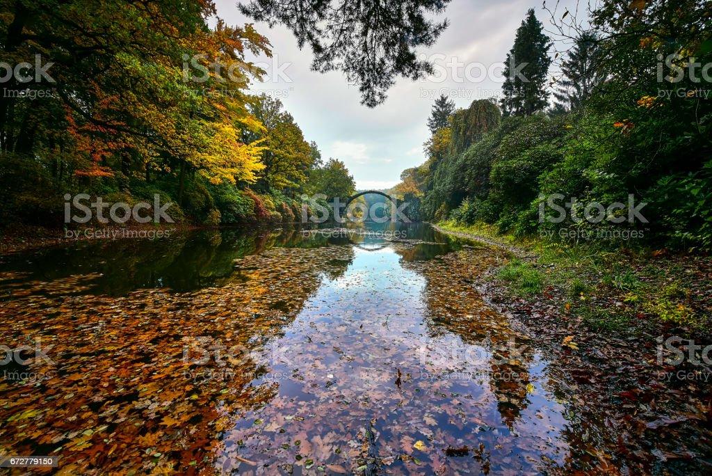 Amazing place in Germany - Rakotzbrucke also known as Devils Bridge in Kromlau. stock photo
