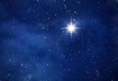 Amazing Polaris in deep starry night sky, space with stars