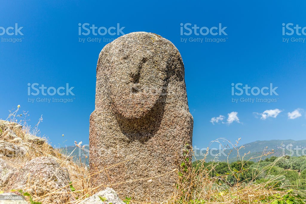 Amazing prehistoric statues in the Corsica hills - 1 Стоковые фото Стоковая фотография