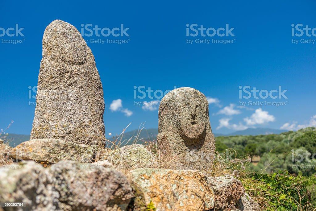Amazing prehistoric statues in the Corsica hills - 3 Стоковые фото Стоковая фотография