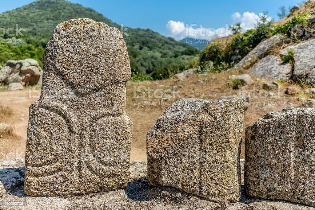 Amazing prehistoric statues in the Corsica hills - 4 royaltyfri bildbanksbilder