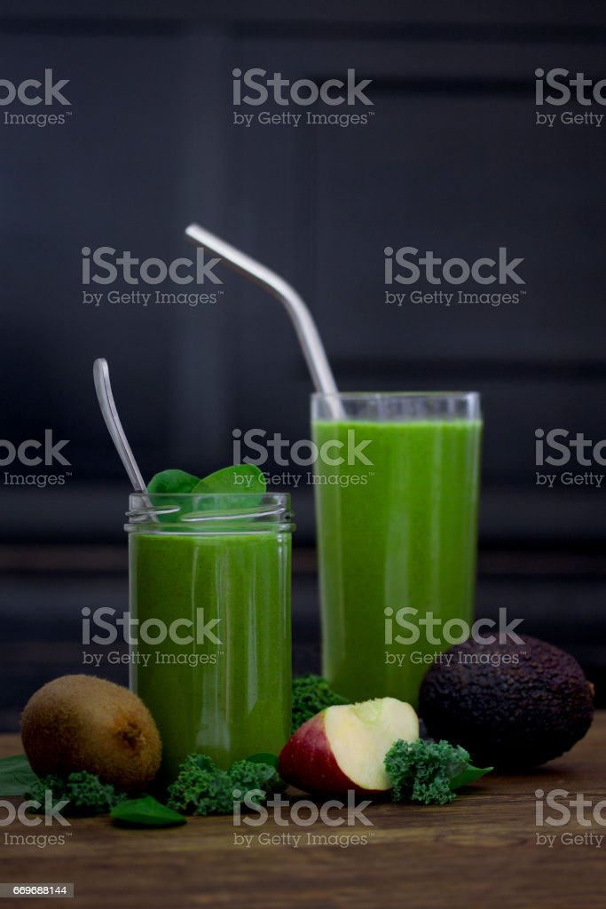 Amazing raw green smoothie with vegetables and fruit stock photo