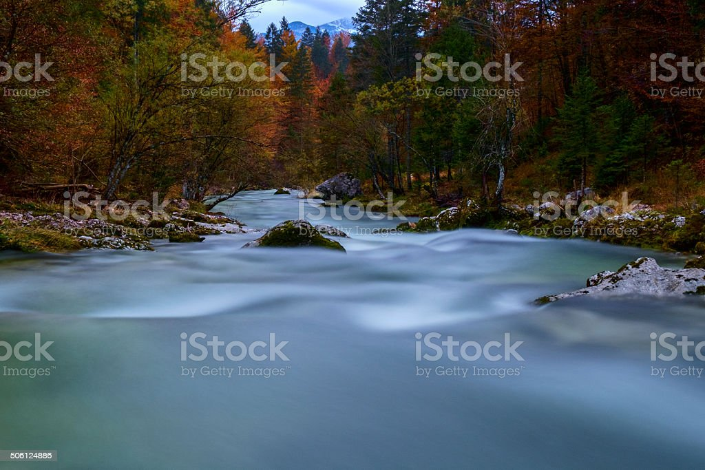 Amazing river in the mountains, Mostnica Korita, Julia alps stock photo