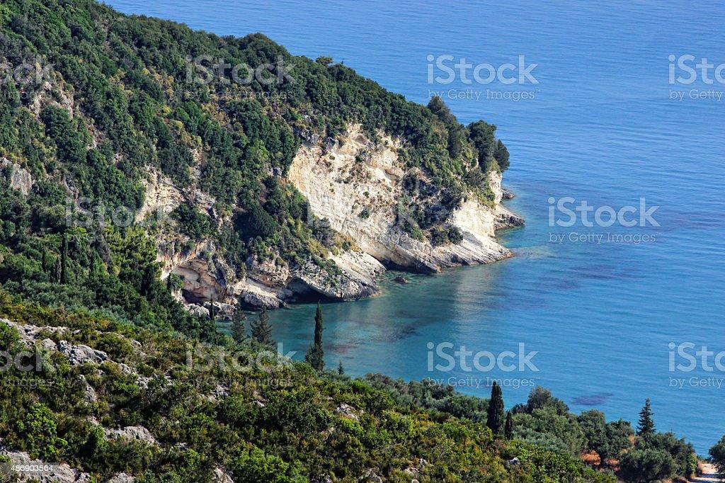 Amazing rocky coastline in Zakynthos, Greece stock photo