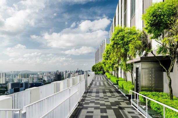 tolle dachterrasse mit garten in singapur. außenterrasse mit park - dachgarten stock-fotos und bilder