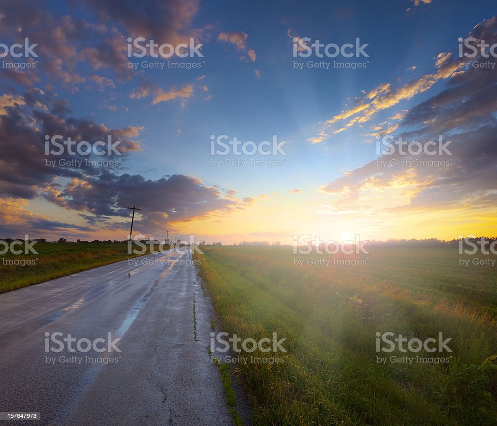 Amazing Rural Midwest Sunset After Heavy Rains royalty-free stock photo