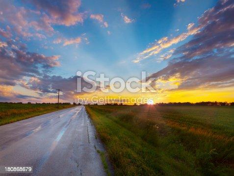Amazing Rural Sunset After Rain Storm