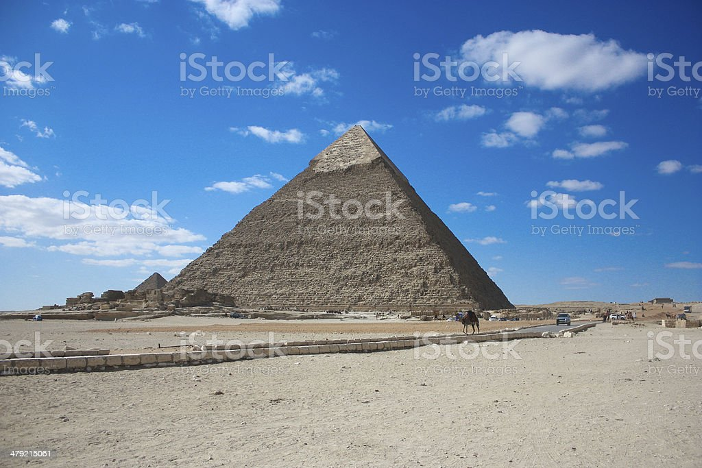 Amazing Scene for Giza Pyramids royalty-free stock photo
