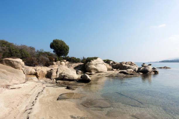 Amazing scenery by the sea in Diaporos island, Sithonia, Halkidiki, Greece stock photo