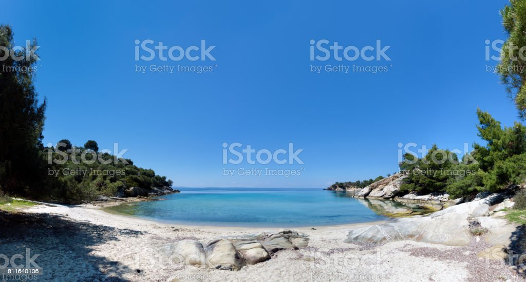 Amazing scenery by the sea in Sithonia, Chalkidiki, Greece stock photo