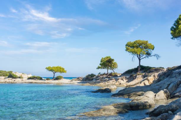 Amazing scenery by the sea in Vourvourou, Sithonia, Chalkidiki, Greece stock photo