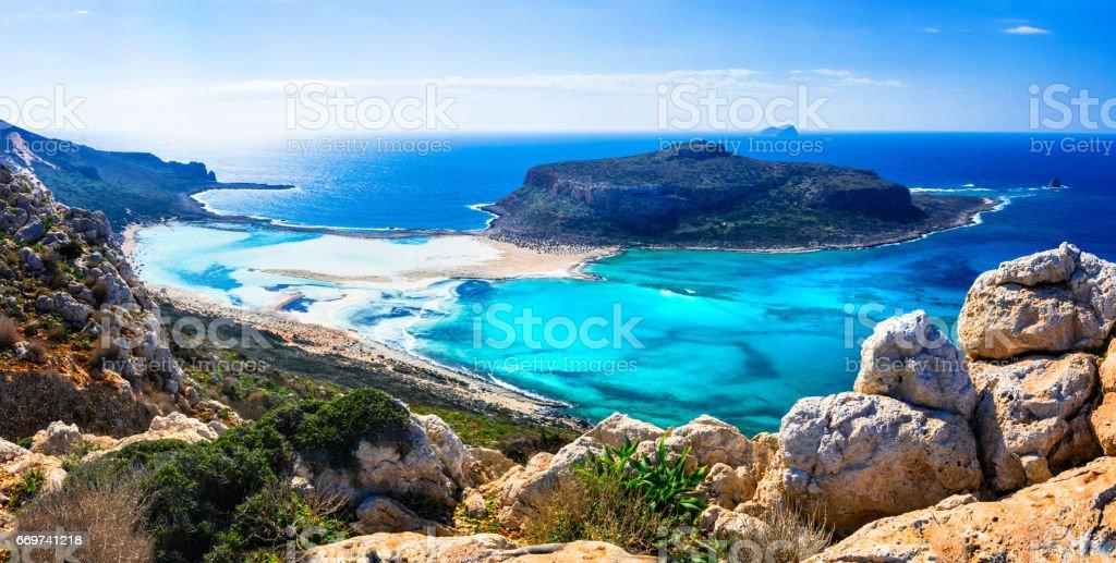 amazing scenery of Greek islands - Balos bay in Crete stock photo