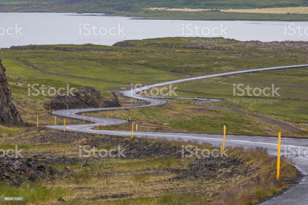 Amazing Scenic mountain road landscape shot on iceland - Royalty-free Agricultural Field Stock Photo