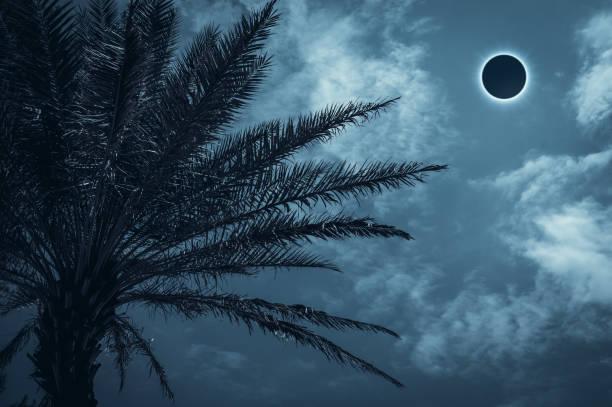 Amazing scientific natural phenomenon. Total lunar eclipse glowing on sky. stock photo