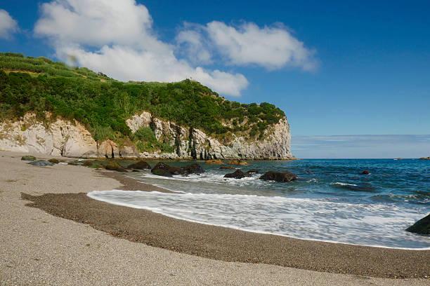 amazing  sea landscape Moinhos beach Porto Formoso Azores island Portugal - foto de stock