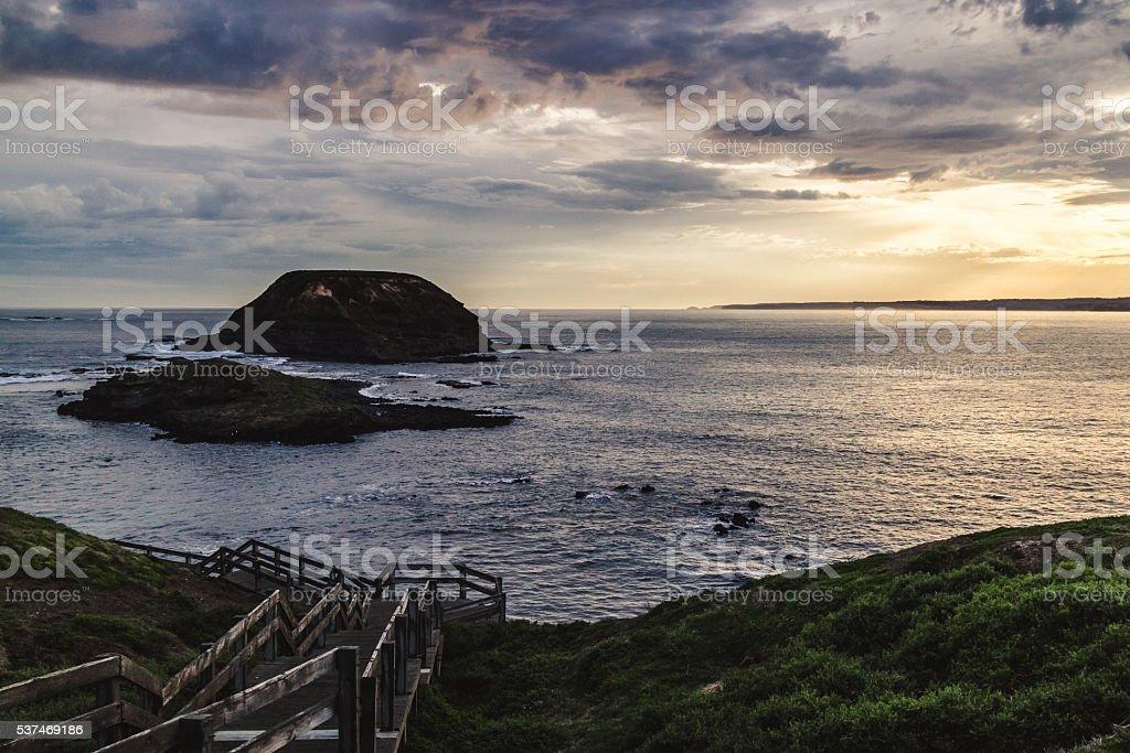 Amazing seascape at sunset stock photo