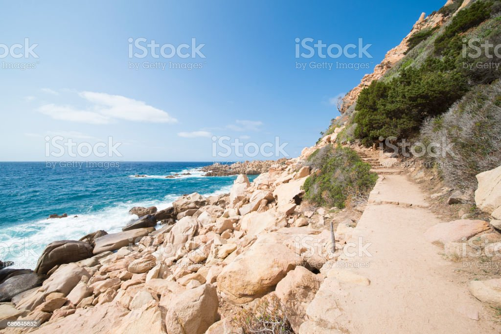 Amazing seascape of a turquoise sea in Italy. Beautiful wild beach of the Emerald coast in Sardinia. royalty-free stock photo