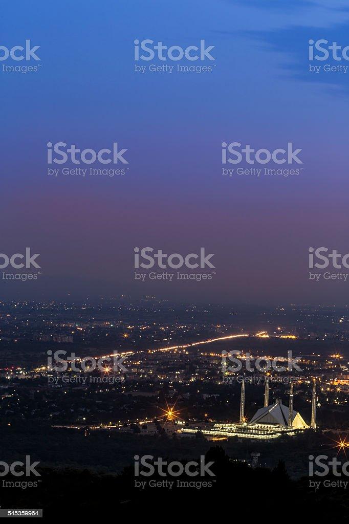 Amazing Shah Faisal Mosque in Islamabad stock photo