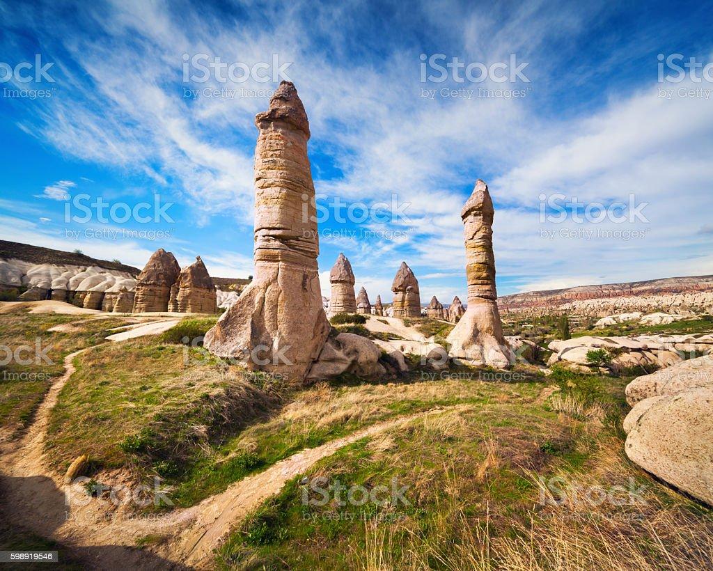 Amazing shapes in sandstone canyon near famous Goreme village, C stock photo