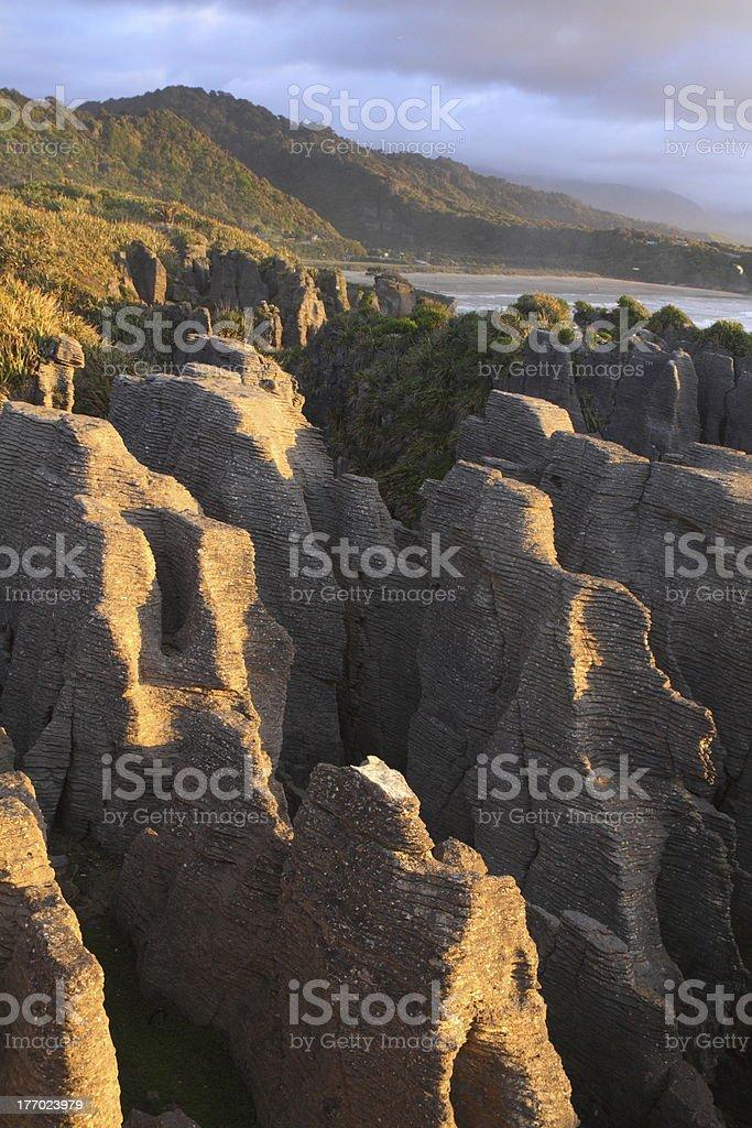 Amazing shapes of Pancake rocks stock photo