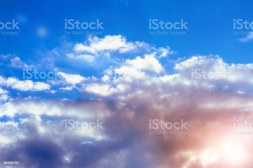 Amazing sky with charming gentle clouds and orange sunshine - Royalty-free Art Stock Photo