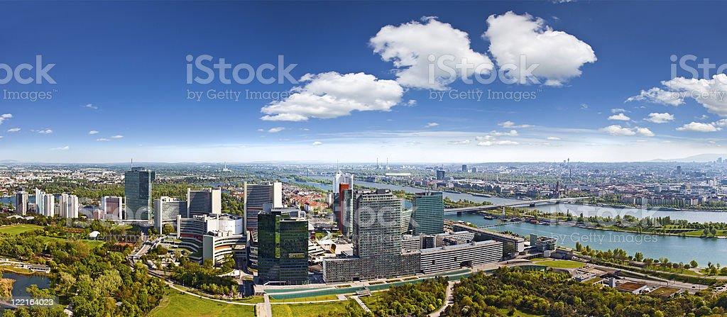 amazing skyline of Donau City Vienna at the danube river royalty-free stock photo