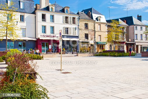 Thouars, France - April 21, 2018: Amazing solitary city center of a small town Thouars, many white and gray houses near a square on a warm spring morning, calm atmosphere. - Image