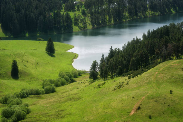 Amazing Spring Landscape of Dospat Reservoir, Smolyan Region, Bulgaria stock photo