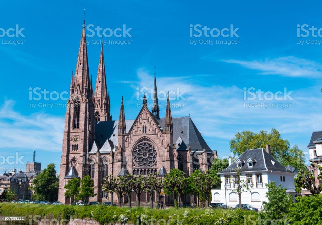 Amazing St Paul gothic Church in Strasbourg France stock photo