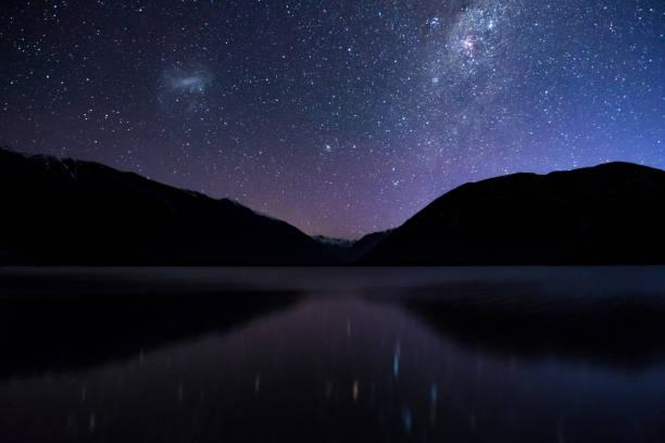 Amazing Starry night at Lake Rotoiti. Reflection of the Milky way and galaxy on the lake. Nelson Lake National Park, New Zealand. High ISO Photography. stock photo