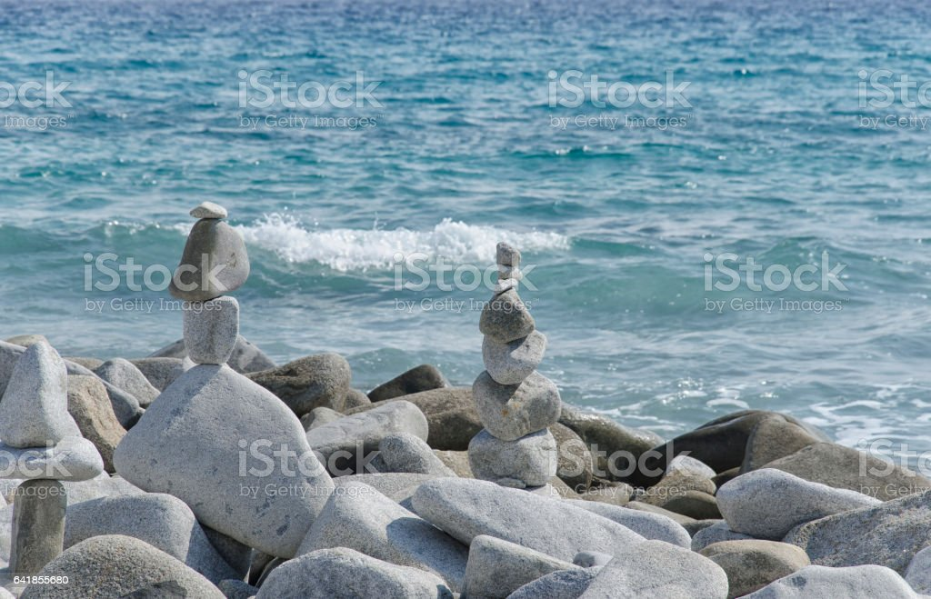 Amazing statues made from stones stock photo