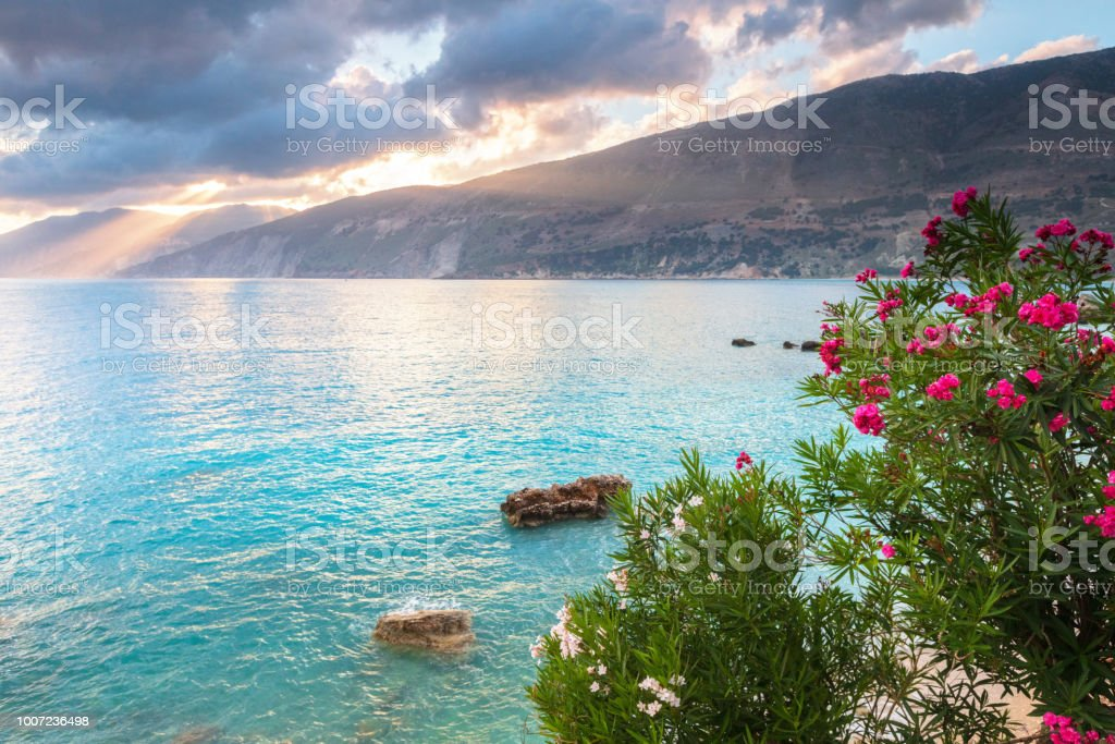 Amazing summer morning by the Greek seaside stock photo
