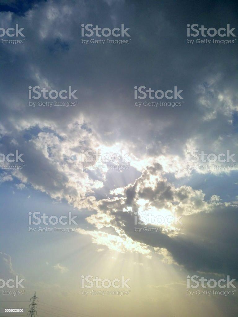 Amazing sunlight clouds stock photo