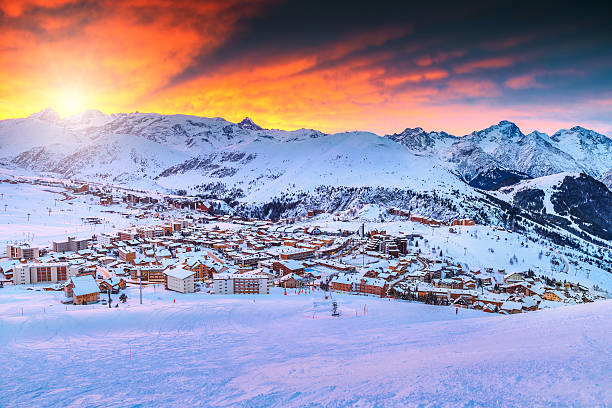 Amazing sunrise and ski resort in the French Alps,Europe​​​ foto