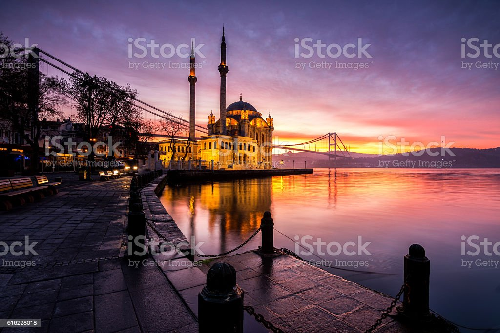 amazing sunrise at ortakoy mosque, istanbul stock photo