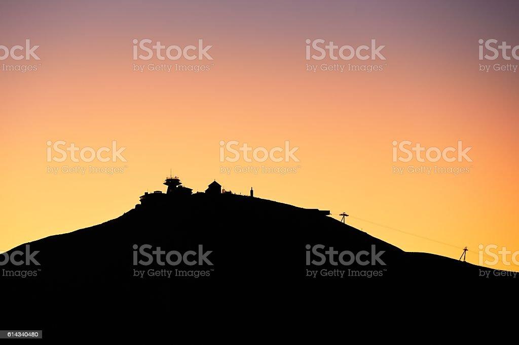 Amazing sunrise in the mounatins stock photo