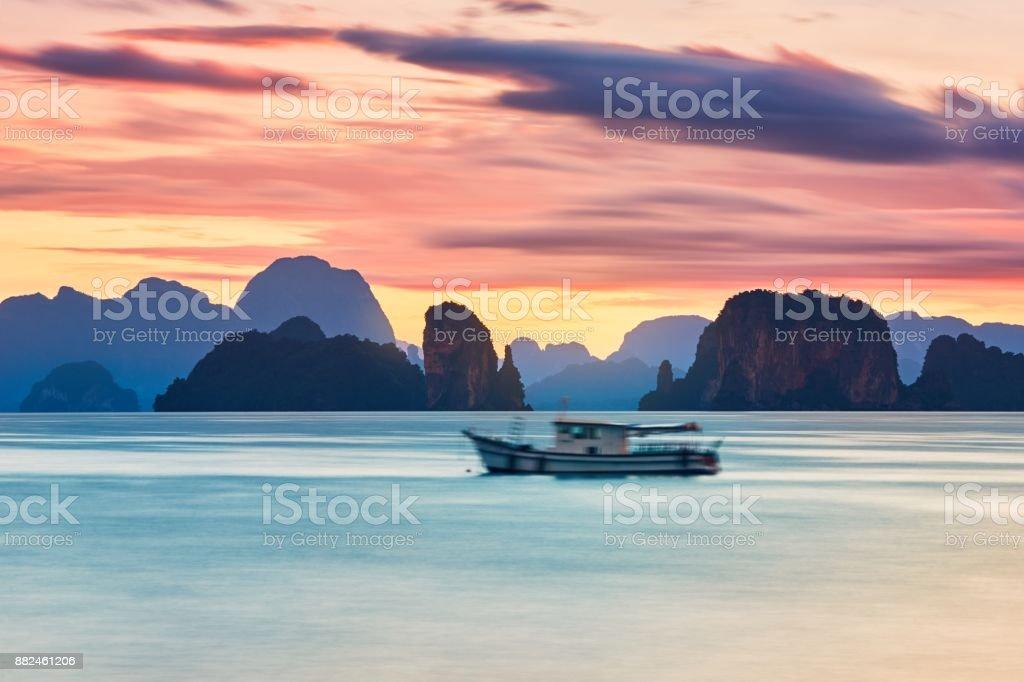Amazing sunrise on the sea stock photo