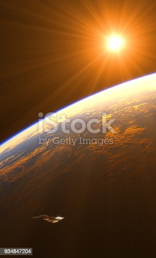 istock Amazing Sunrise Over The Earth And Space Station 934847204
