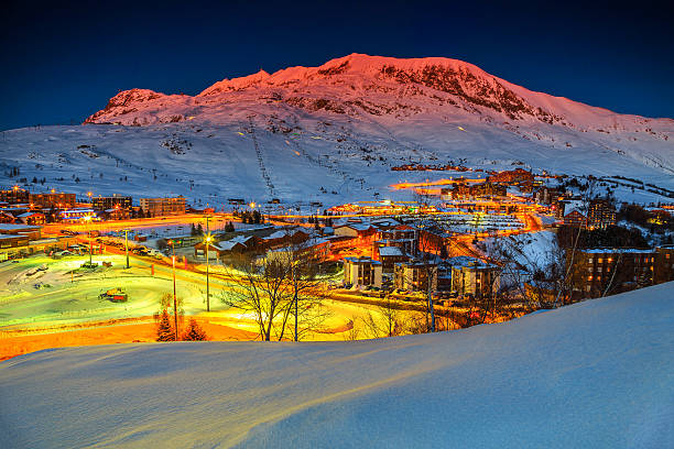 Amazing sunset and ski resort in the French Alps,Europe​​​ foto