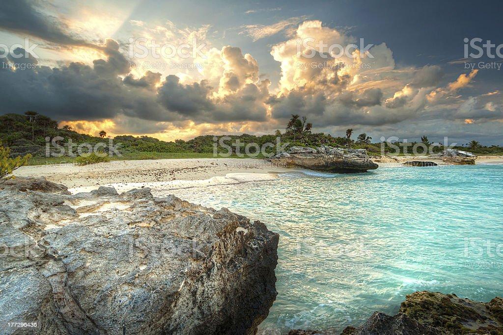 Amazing sunset at Caribbean Sea stock photo