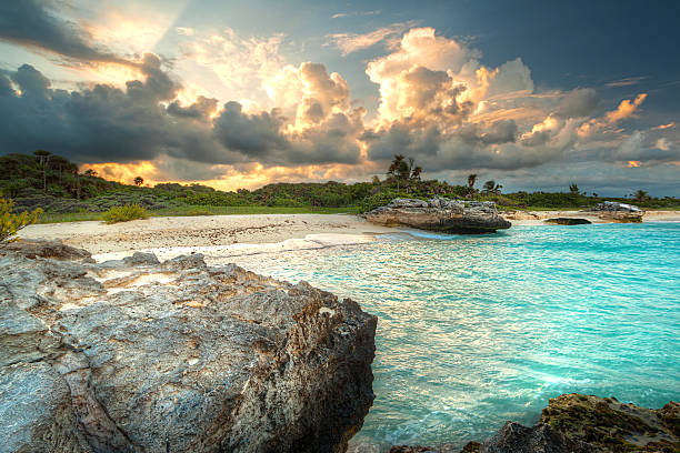 amazing sunset at caribbean sea - playa del carmen stock photos and pictures