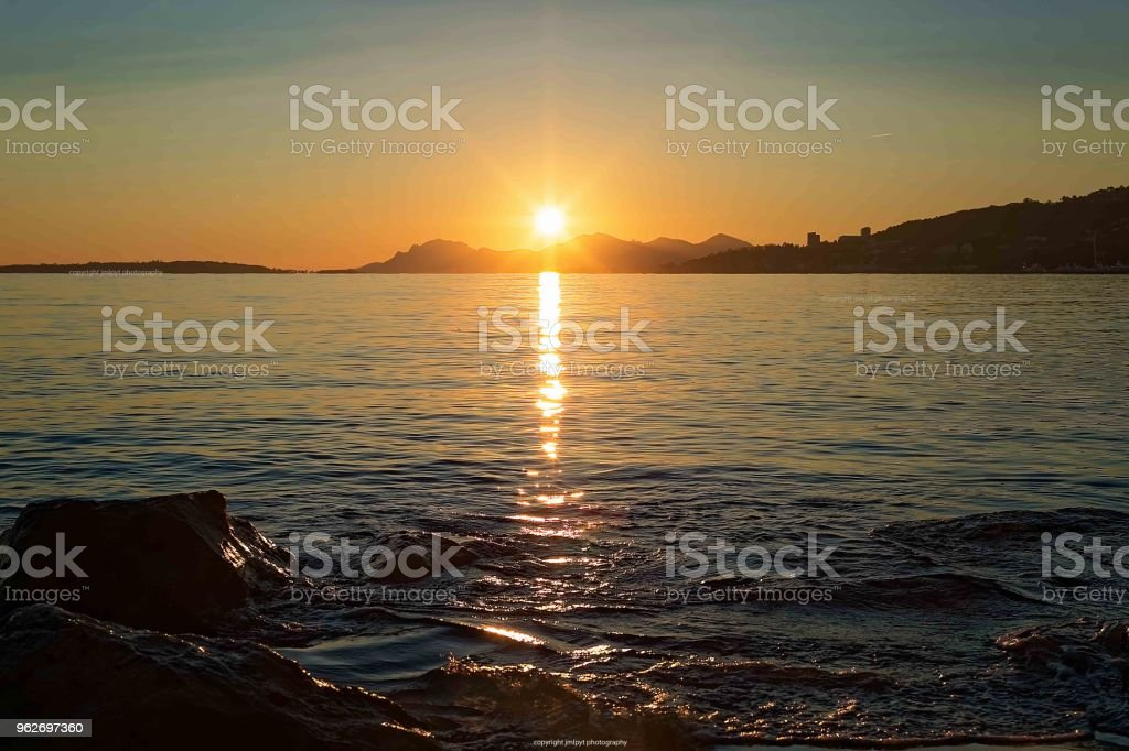 Amazing sunset in french riviera - seascape stock photo