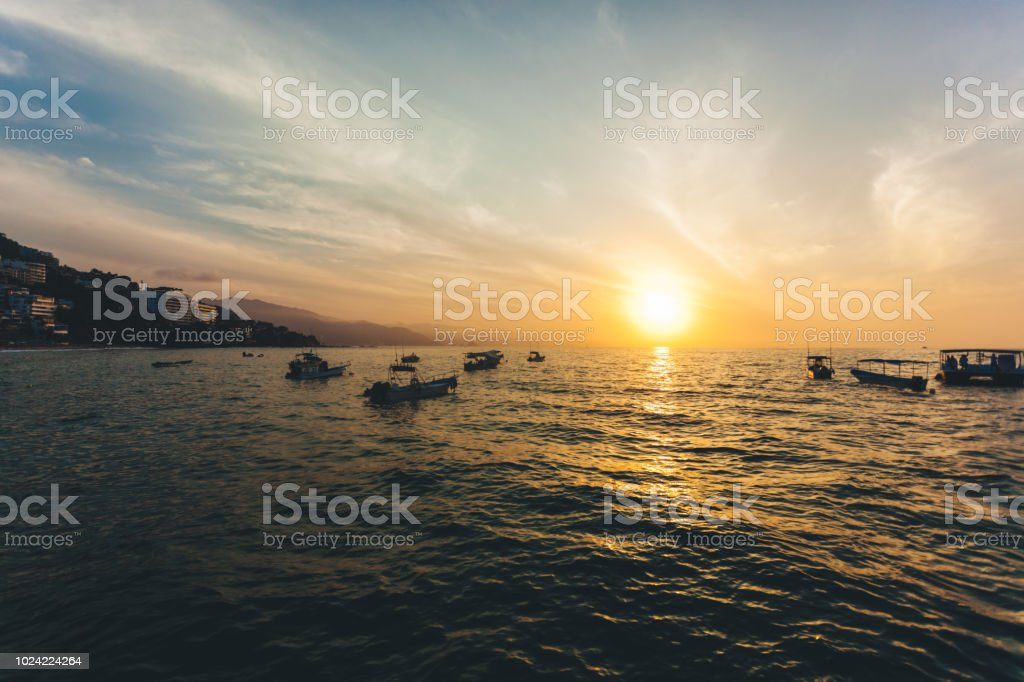amazing sunset in Mexico stock photo