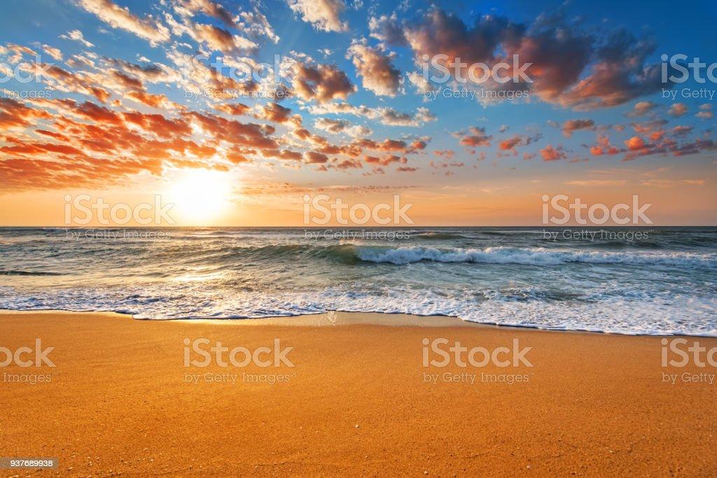 Amazing sunset landscape. Beautiful nature background. stock photo
